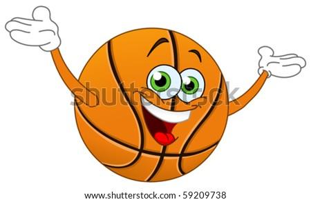 Cartoon basketball raising his hands - stock vector
