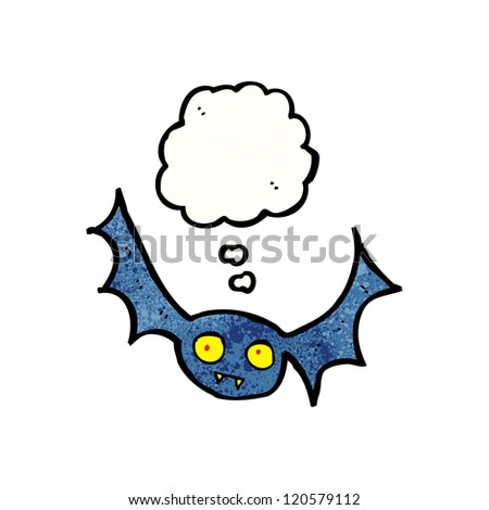 cartoon bat with thought bubble - stock vector