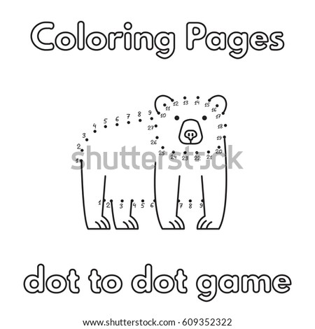 Cartoon Bear Dot To Game Vector Coloring Book Pages For Children