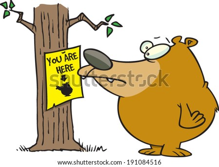 cartoon bear looking at a you are here sign - stock vector