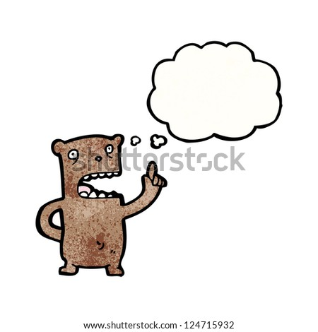 cartoon bear with idea - stock vector
