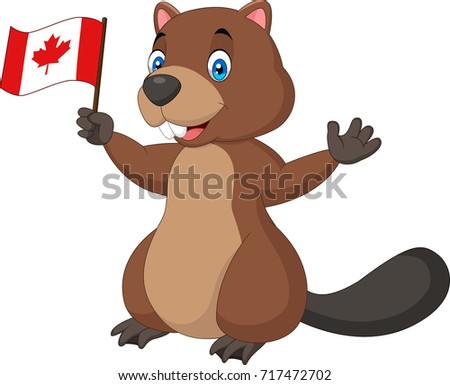 Cartoon Beaver Holding Wood Stock Illustration 500483725