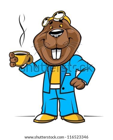 cartoon beaver or groundhog mascot. vector illustration - stock vector