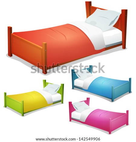 Cartoon Bed Set/ Illustration of a set of cartoon wood children beds for boys and girls with pillows and cover - stock vector
