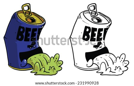 crushed can clipart. cartoon beer can throwing up - vector clip art illustration on white background crushed clipart
