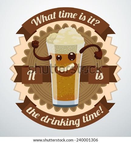 Cartoon Beer Label, vector - stock vector
