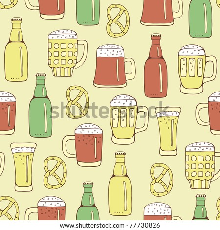 cartoon beer seamless - stock vector