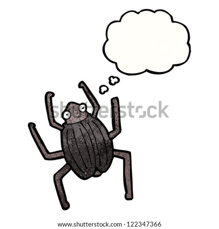 cartoon beetle with thought bubble