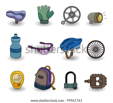 cartoon bicycle equipment icon set - stock vector