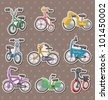 cartoon Bicycle stickers - stock vector