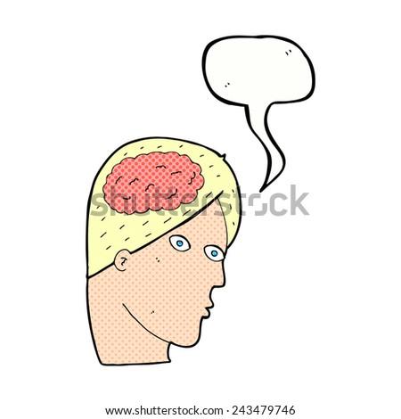 cartoon big brain man with speech bubble - stock vector