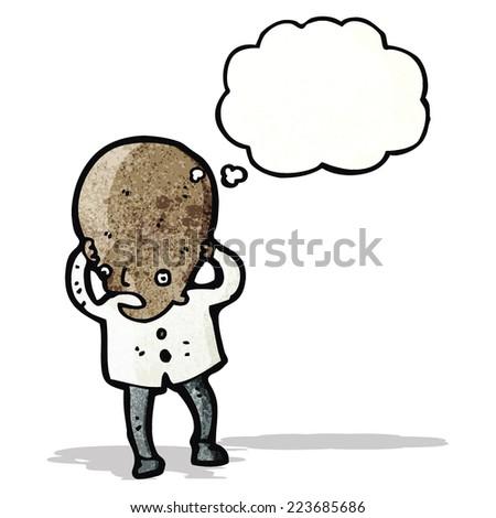 cartoon big brain scientist - stock vector