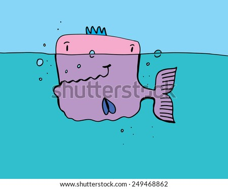 Cartoon Big fish - stock vector