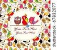 Cartoon bird card - stock vector