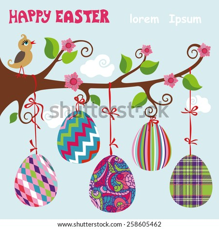 Cartoon bird on tree branch.Colorful pattern easter eggs hanging on ribbon. .Funny vector Illustration,design template,bright composition.Modern flat style.Greeting card - stock vector