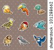 cartoon bird stickers - stock photo