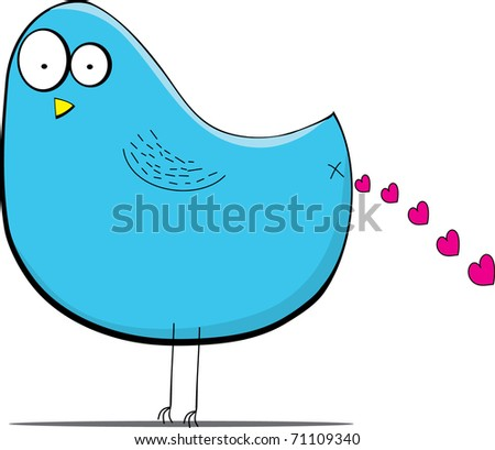 cartoon bird who poos with love - stock vector