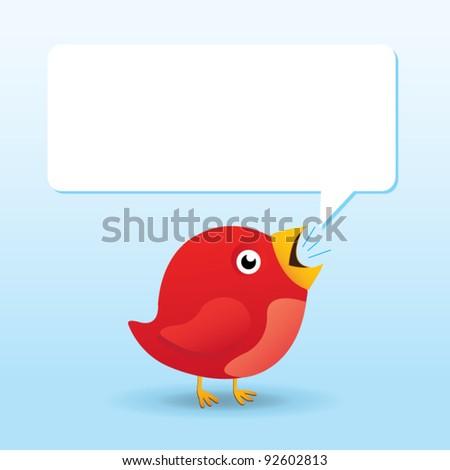 Cartoon Bird with Speech Bubble - stock vector