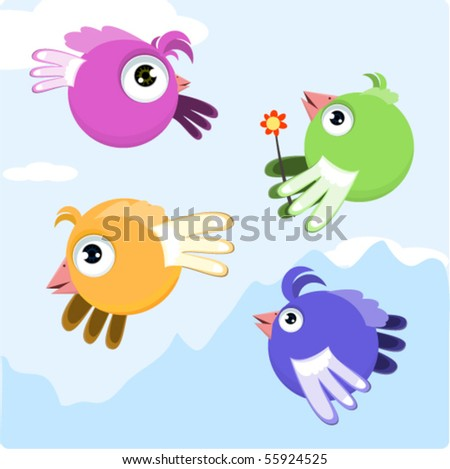 cartoon birds abstract background - stock vector