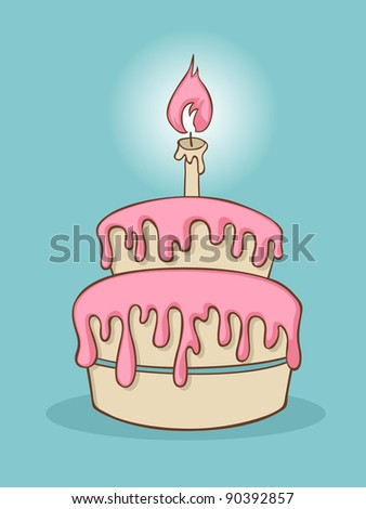 Cartoon birthday cake with one candle. - stock vector