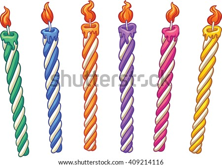 Cartoon birthday candles. Vector clip art illustration with simple gradients. Each on a separate layer. - stock vector