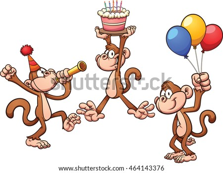 Cartoon birthday monkeys. Vector clip art illustration with simple gradients. Each on a separate layer.