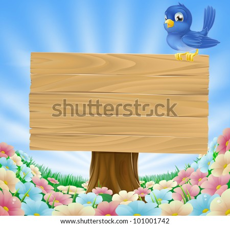 Cartoon blue bird sitting on a wooden sign board in a flower meadow - stock vector