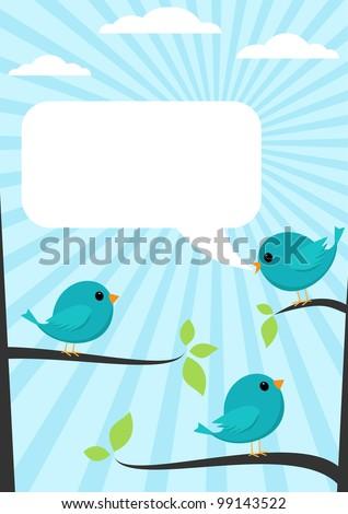 Cartoon blue bird talking to other. - stock vector
