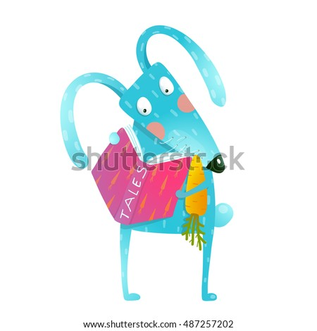 Cartoon blue bunny reading book eating carrot. Funny wildlife. Cartoon character for children books, animals greeting cards and other projects. Vector illustration in bright colors.