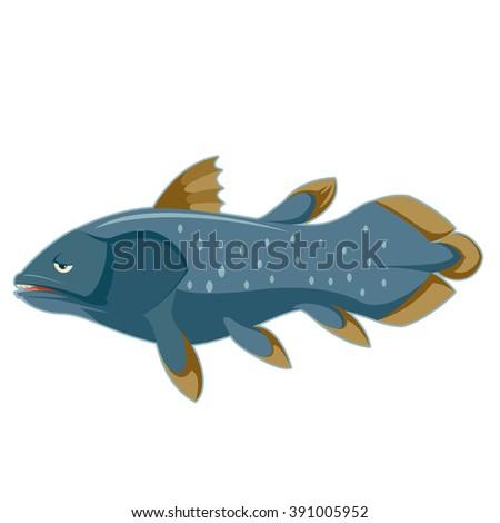 Cartoon blue Coelacanth - stock vector