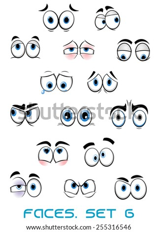 Cartoon blue eyes with eyebrows showing different emotions as happy, sad, angry, scared, surprised, love suited for comic book or avatar design - stock vector