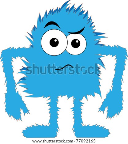 Cartoon blue hairy creature angry expression - stock vector