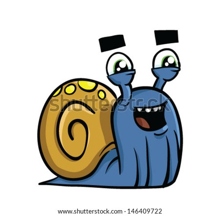 Cartoon blue snail with shell - Vector clip art illustration on white background