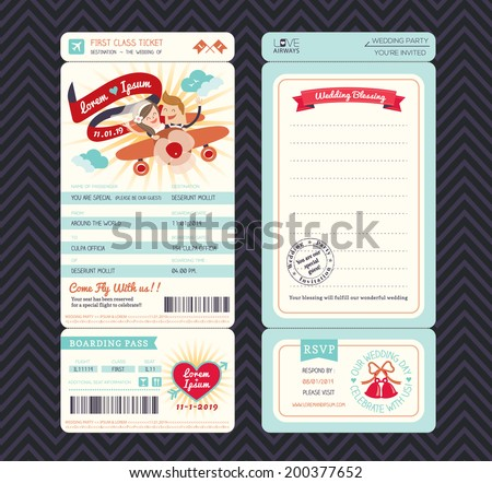 Cartoon Boarding Pass Ticket Wedding Invitation Template Vector - stock vector