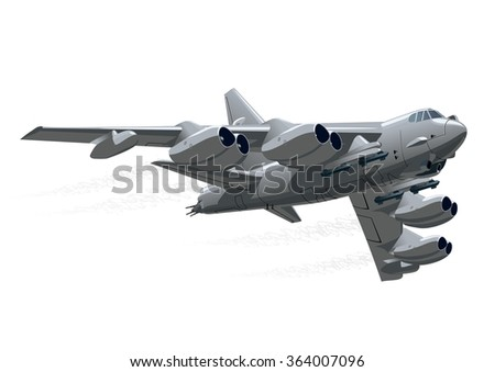 Cartoon Bomber B-52 Stratofortress. Available EPS-10 vector format separated by groups and layers for easy edit. Airplane Picture. Cartoon Bomber Image. Airplane AI. Plane Drawing - stock vector - stock vector