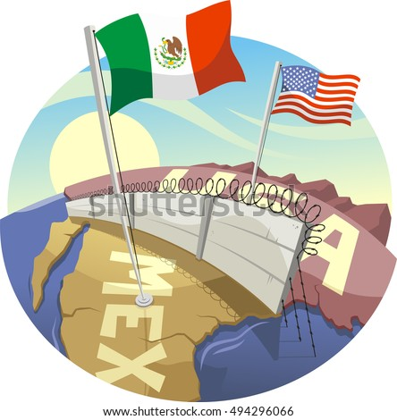 Cartoon Border Wall Between Mexico And The United States Ilration