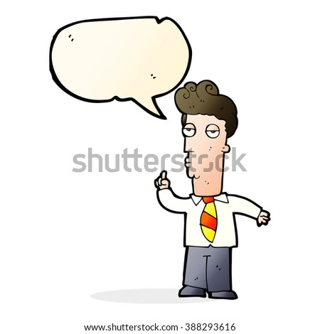 cartoon bored man asking question with speech bubble - stock vector