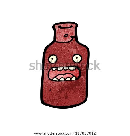 cartoon bottle of red wine - stock vector
