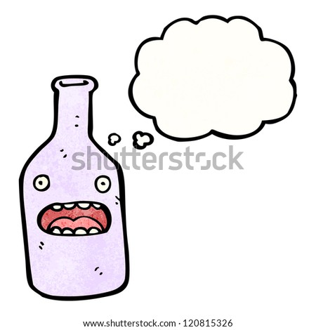 cartoon bottle with shocked face - stock vector