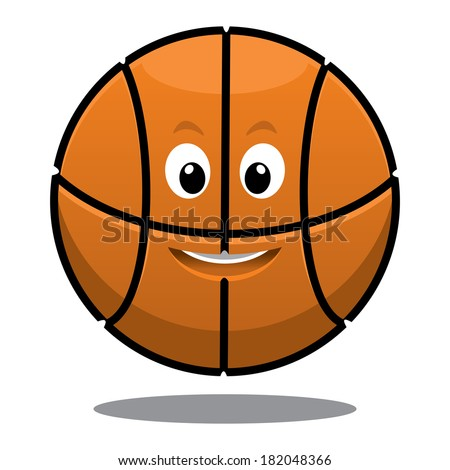 Cartoon bouncing happy brown basketball ball logo with a cute smile and shadow below - stock vector