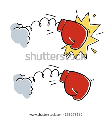 cartoon boxing glove punch. cartoon illustration isolated on white background - stock vector