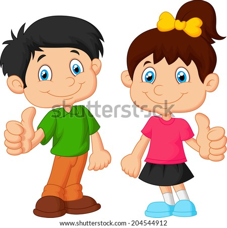 Cartoon boy and girl giving thumb up - stock vector
