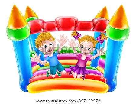 Cartoon boy and girl jumping on a bouncy castle  - stock vector