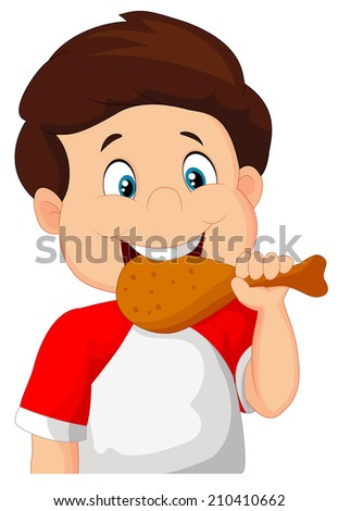 Cartoon boy eating fried chicken. - stock vector