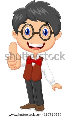 Cartoon boy giving thumb up - stock vector