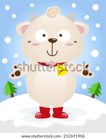 Cartoon boy goat with winter season vector. - stock vector