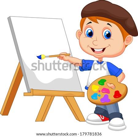 Cartoon boy painting - stock vector