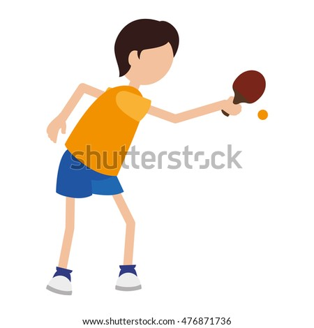 cartoon boy player ping pong