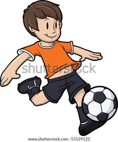 Cartoon boy playing soccer. Kid and soccer ball on separate layers for easy editing. - stock vector