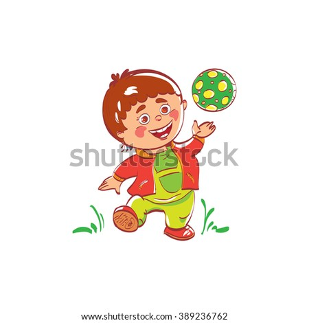 Cartoon boy playing with soccer. Kids sport. Baby playing with a ball at walking. The ball is in his hand the boy. Children smile and boys sport hobby. Ball flies up game. - stock vector
